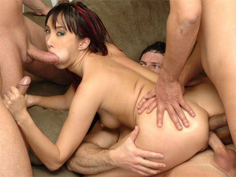 Group sex in all holes for this insatiable whore.
